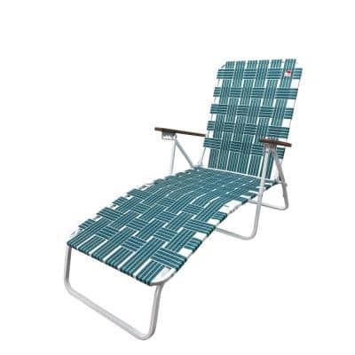 Classic Webbed Green Folding Chaise Lounger Camp/Lawn Chair