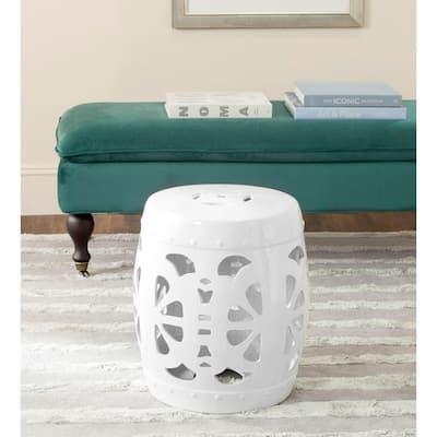 Stencil Blossom Antique White Ceramic Garden Stool