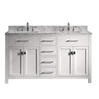 Caroline 60 in. W Bath Vanity in White with Marble Vanity Top in White with Square Basin