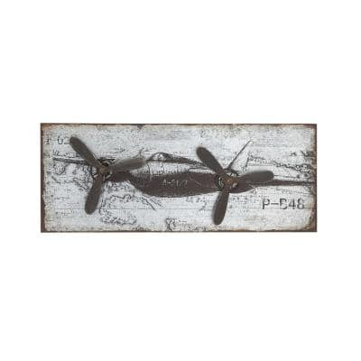 46 in. x 18 in. Vintage Airplane Wall Art in Rustic Finish with 3D Accents