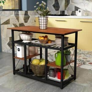 Brown Multifunctional Counter Height Kitchen Island with Large Worktop