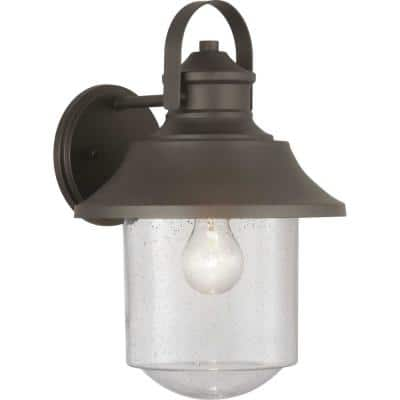 Weldon Collection 1-Light Architectural Bronze Clear Seeded Glass Farmhouse Outdoor Large Wall Lantern Light