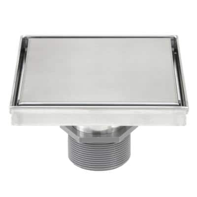 Shower Square Linear Drain 6 in. Brushed 304 Stainless Steel 2-sided Reversible Tile Insert Grate