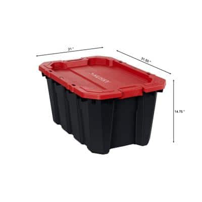 25 Gal. Black and Red Latch and Stack Tote