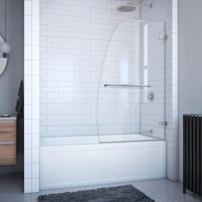 Aqua Uno 34 5/16 in. x 58 in. Frameless Hinged Tub Door in Brushed Nickel