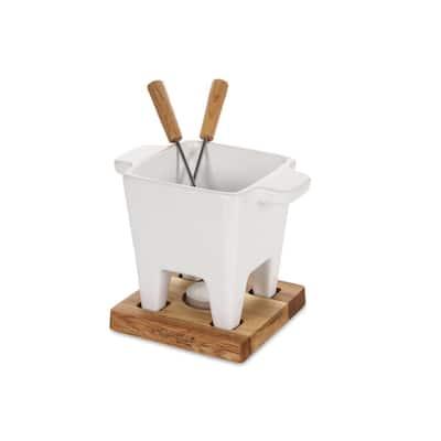 Exclusive Collection 4-Piece Ceramic Fondue Set in White