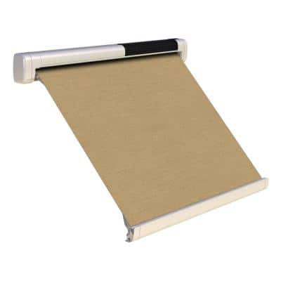 8 ft. Solar Powered Home Window Retractable Smart Awning, Cream Case, Heather Beige Fabric