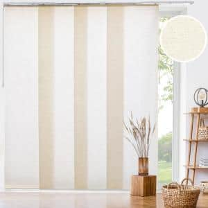 Country Cut-to-Size Ivory Light Filtering Adjustable Sliding Panel Track Blind with 23 in. Slats Up to 86 in.W x 96 in.L