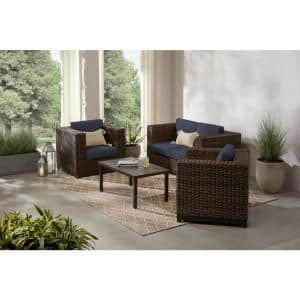 Fernlake 4-Piece Taupe Wicker Outdoor Patio Deep Seating Set with CushionGuard Sky Blue Cushions