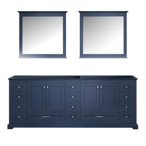 Lexora Dukes 84 Inch Double Bathroom Vanity Cabinet With Mirror In Navy Blue Ld342284de00m34 The Home Depot