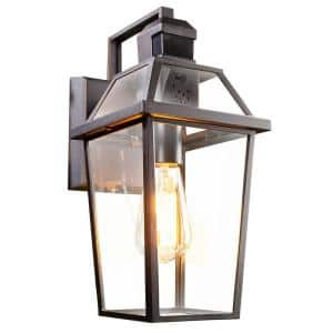 Wi-Fi Connected Black Wired Voice Activated Motion Sensing Outdoor Sconce