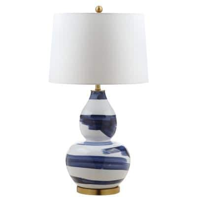 Aileen 32 in. Blue/White Brushed Table Lamp with White Shade