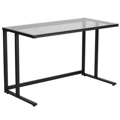 47.3 in. Rectangular Clear/Black Writing Desks with Glass Top