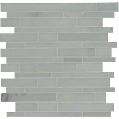 Winter Twilight Interlocking 12 in. x 12 in. x 10 mm Polished Marble Mesh-Mounted Mosaic Tile (10 sq. ft. / case)