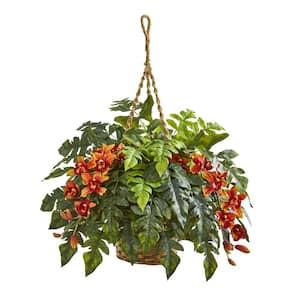 Indoor Cymbidium Orchid & Fern Artificial Arrangement in Hanging Basket