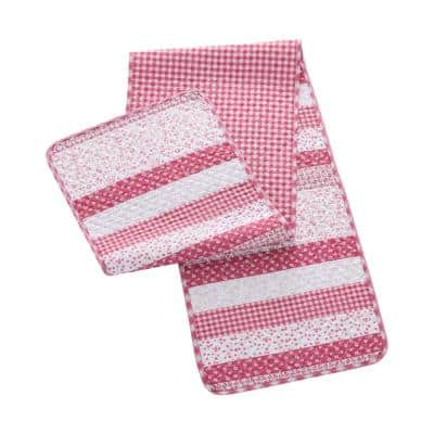 Stripe 14 in. W x 72 in. L Rose Quilted Microfiber Table Runner