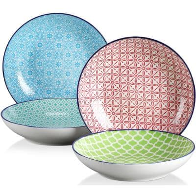 Macaron 8.6 inch Soup Porcelain Plate Patterned 4 Designs Hand Painted Soup Plate Set(Set of 4 )