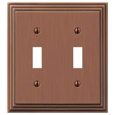 Tiered 2 Gang Toggle Metal Wall Plate - Antique Copper