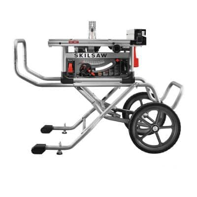 10 in. Heavy-Duty Worm Drive Table Saw 15 Amp Corded Electric with Stand and Diablo Blade
