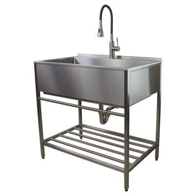 36 in. x 22 in. x 34 in. Stainless Steel Apron-Front Freestanding Utility/Laundry Sink with Wash Stand in Brushed Satin