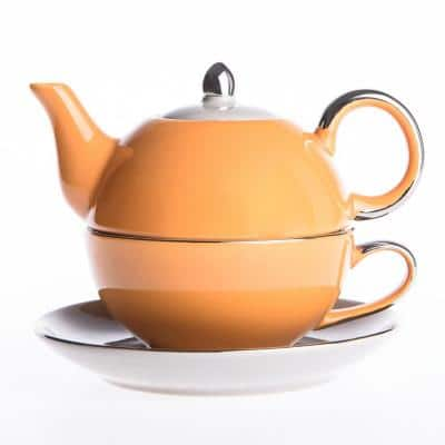 10 oz. Single Serve 1-Piece Orange Porcelain Teapot Teacup and Saucer Set