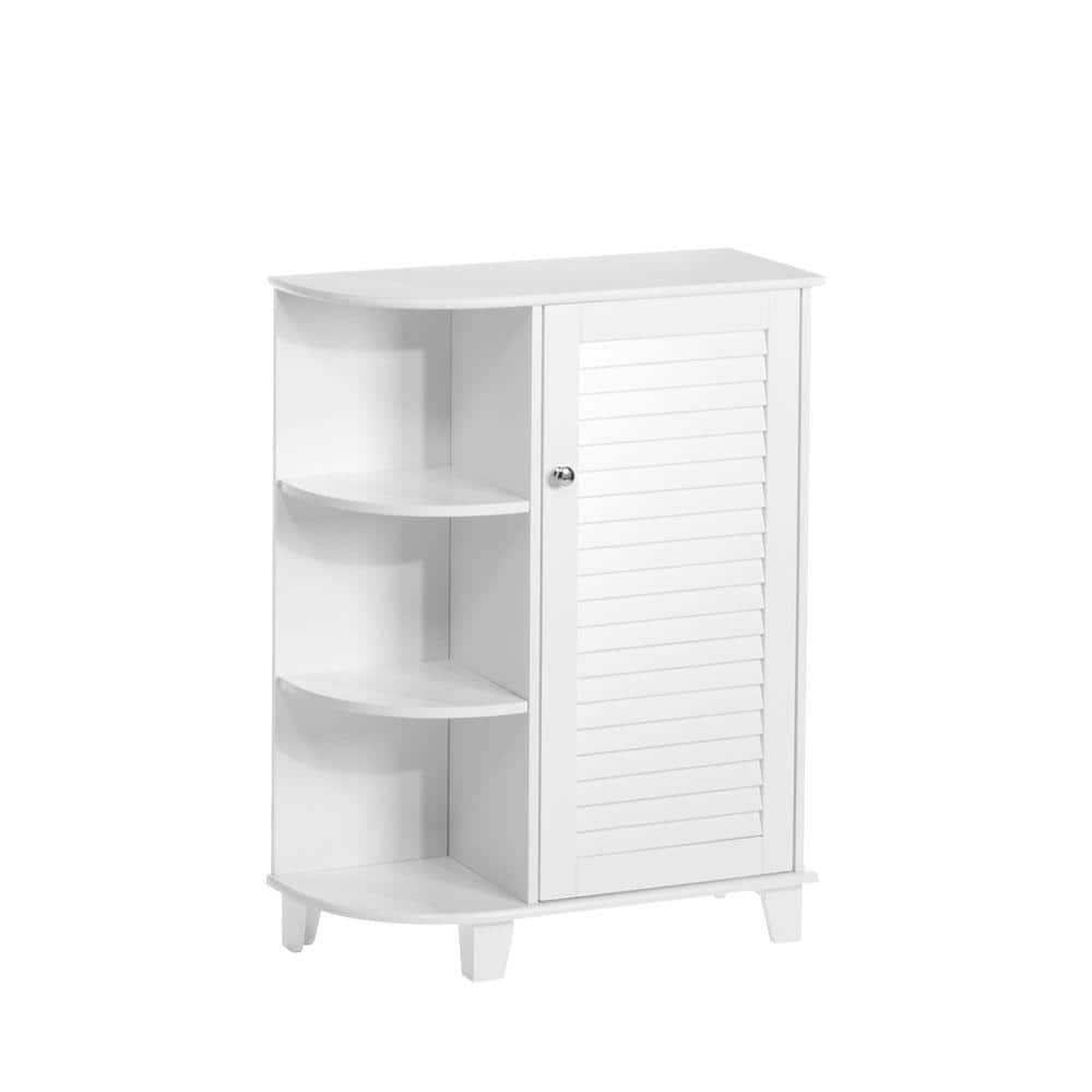 Riverridge Home Ellsworth 23 5 8 In W X 31 1 10 In H Bathroom Linen Storage Floor Cabinet With Side Shelves In White 06 025 The Home Depot