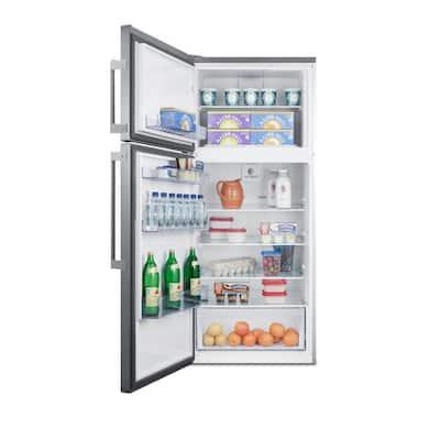 27 in. 12.6 cu. ft. Top Freezer Refrigerator in Stainless Steel, Counter Depth