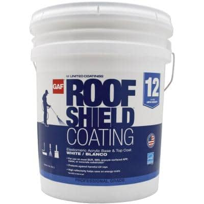 RoofShield Top Coat 5 Gal. White Acrylic Reflective Elastomeric Roof Coating (12-year Limited Warranty)