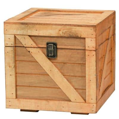 Stackable Wooden Cargo Crate Style Storage Chest in Light Brown