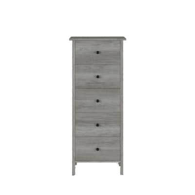 5-Drawer Aylin Vintage Gray Chest Of Drawers 45.12 in. H x 18.9 in. W x 15.75 in. D