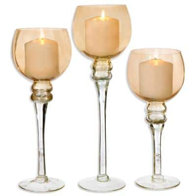 Amber Colored Footed Hurricanes (Set of 3)