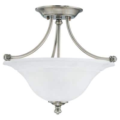 Harmony 2-Light Satin Pewter Ceiling Semi-Flush Mount Light