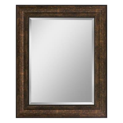 29 in. W x 35 in. H Framed Rectangular Beveled Edge Bathroom Vanity Mirror in Bronze