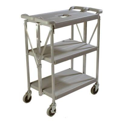 Fold N' Go Gray Small Heavy-Duty 3-Tier Collapsible Utility and Transport Cart