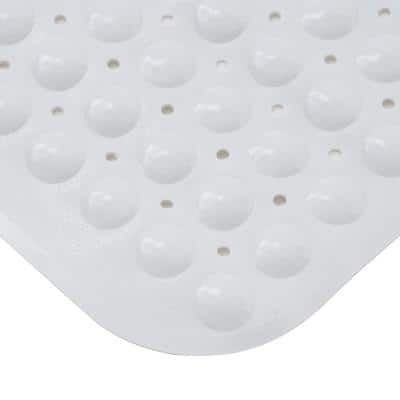 15.25 in. x 30.75 in. Non-Slip Bath, Shower and Tub Mat with Suction Cups in White
