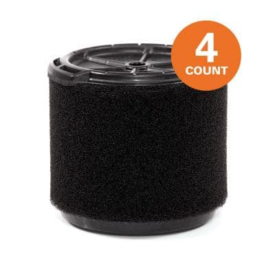 Wet Application Foam Filter for 3 to 4.5 Gal. RIDGID Wet/Dry Shop Vacuums (4-Pack)