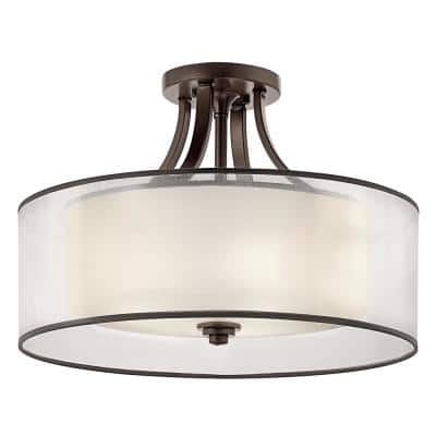 Lacey 4-Light Mission Bronze Semi-Flush Mount Ceiling Light with Translucent Organza Outer Shade