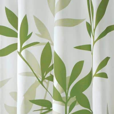 Shower Curtain in White with Green Leaves
