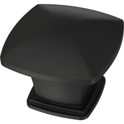 Essentials 1-1/4 in. (31mm) Matte Black Square Cabinet Knob (24-Pack)