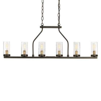 Hartwell 34 in. 6-Light Antique Bronze Farmhouse Island Linear Chandelier with Clear Seeded Glass and Brass Accents