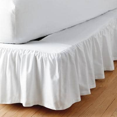 Simple Tuck 21 in. Gathered Solid Bed Skirt