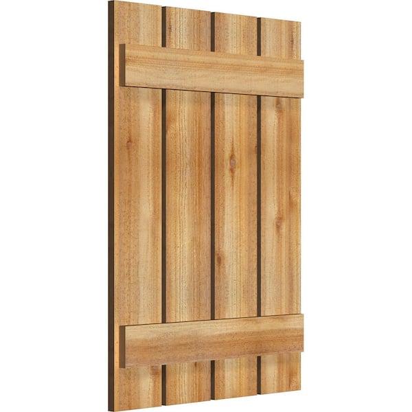 Ekena Millwork 23 X 33 Timbercraft Rustic Wood Four 5 3 8 Spaced Board And Batten Shutters Rough Sawn Cedar Pair Rbs06s23x033rwr The Home Depot