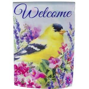 12.5 in. x 18 in. Welcome Yellow Finch Spring Outdoor Garden Flag