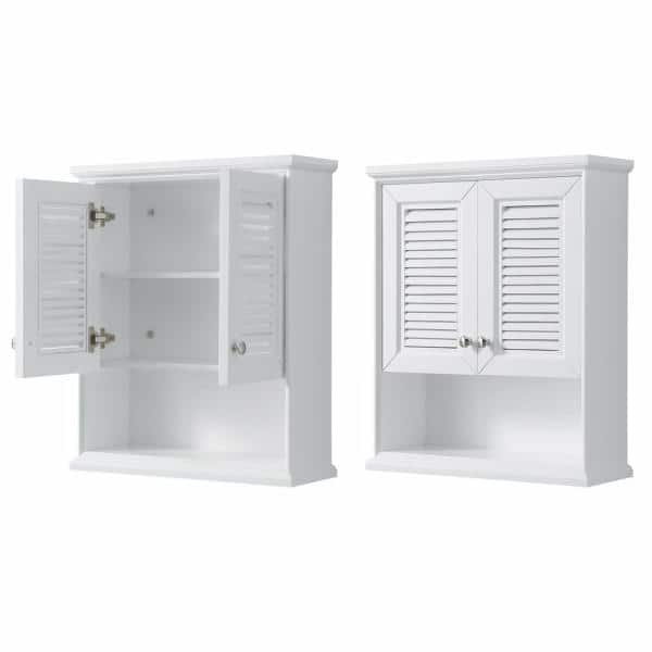 Wyndham Collection Tamara 25 In W X 9 In D Bathroom Storage Wall Cabinet In White Wcs2121wcwh The Home Depot
