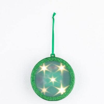 4 in. Green Lighted Holographic Ornament (1-Pack)