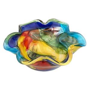 8.5 in. Stormy Rainbow Murano Style Art Glass Floppy Centerpiece Bowl