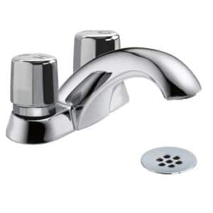 Commercial Metering 4 in. Centerset 2-Handle Bathroom Faucet in Chrome
