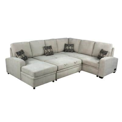 Serta 38.2 in. Beige Breckenridge Multifunctional Sectional Sofa with USB and Power and Removable Cushions