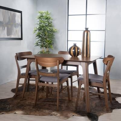 Idalia 5-Piece Dark Grey and Natural Walnut Dining Set