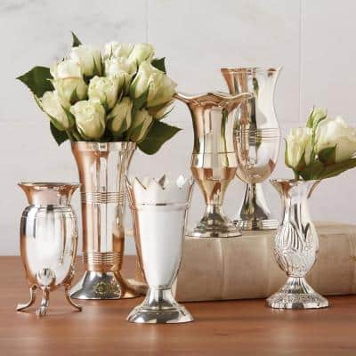 Queen Anne's Silver Plated Brass Vases (Set of 6)